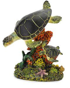 Simmande havssköldpadda med unge