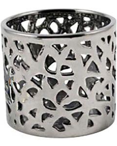Värmeljushållare i silverfärgad keramik
