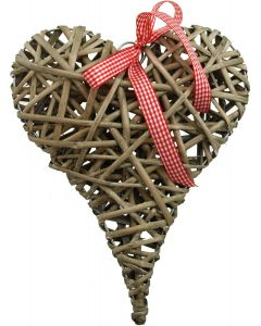 Hjärta av flätad trä med rosett