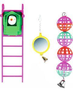 Flamingo Bird Toys Ladder 3-p. Set med 3 leksaker till små fåglar.