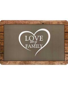 Placemat Heart Love My Family. Underlägg av hårdplast skyddar golvet.