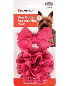 Flamingo. Accessoarer Fluga+Rosett Rosa. Set med två söta accessoarer som gör din hund extra fin.