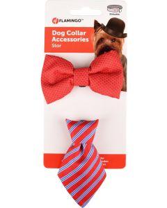 Flamingo. Accessoarer Fluga+Slips Röd. Set med två söta accessoarer som gör din hund extra fin.