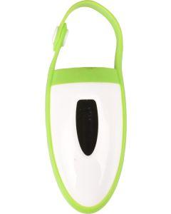 Flamingo. Bajspåsehållare Itter Vit/Grön. Bajspåsdispener i hållbar plast/silikon.