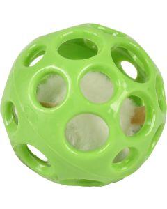Kattleksak Boll med mus 7cm. Mjuk gummiboll med pipande mus.