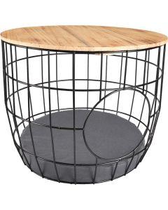 Wire Basket Svart 50x50x41cm. Trådkorg sidobord med mysig sovkoja.