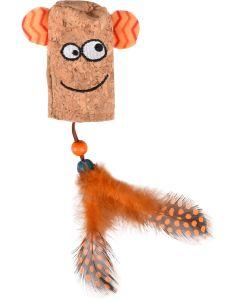 Kattleksak Kirk Leende Ansikte. Ihålig leksak med träkulor och fjädrar.