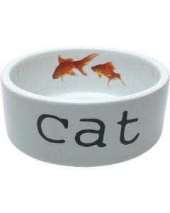 Vit keramikskål med guldfiskar i fotomotiv