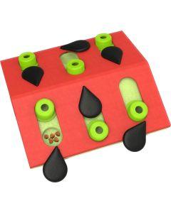 Melon Madness Puzzle & Play. Dubbelsidigt aktivitetsspel med godisgömmor.
