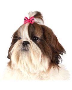 Show Tech Hair Bow Heart 50p. Hund rosett dekor med gummisnodd.