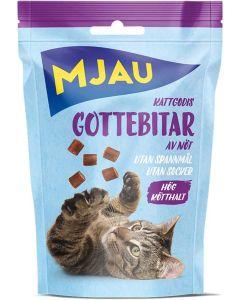 Mjau Gottebitar Nötkött 30g. Naturligt kattgodis av nötkött.