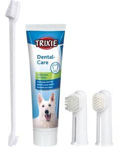 Set med hundtandborste, hundtandkräm och två fingertandborstar