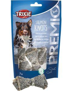 Premio Salmon Knots. Tuggknutar av naturligt laxskinn.