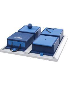 Fyra lådor med olika tekniker för att öppna