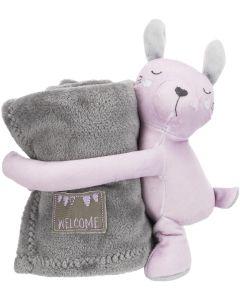 Trixie Jr CuddlySet Kanin Lila. Set med filt och mjukisdjur med pip .