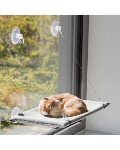 Trixie Fönsterdyna Grå 50x30cm. Bädd som kan fästas på släta ytor.